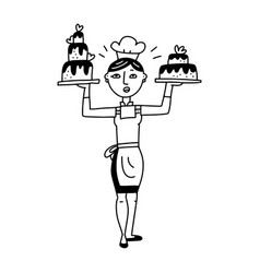 cute vintage female chief cook holding a wedding vector image