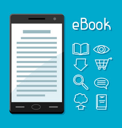 e-book concept smart phone with book digital vector image