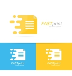 Fast file logo combination speed document vector