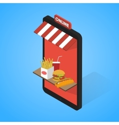 Fast food icons set Isometric Tablet mobile vector image vector image