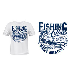 Fishing t-shirt print mockup pike fish on waves vector