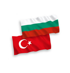 flags turkey and bulgaria on a white background vector image