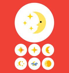 Flat icon bedtime set bedtime lunar midnight vector