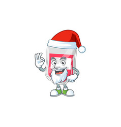 friendly bag blood santa cartoon with ok finger vector image