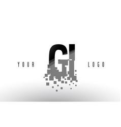 Gi g i pixel letter logo with digital shattered vector