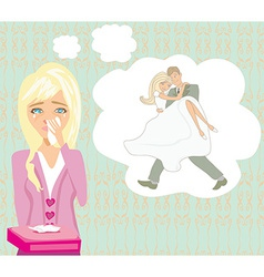 Girl crying dreams of getting married vector