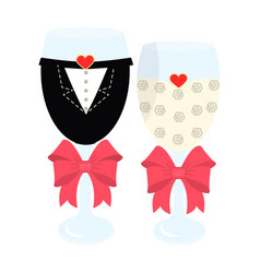 glass glasses in the clothes of the bride and vector image