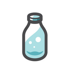 glass milk bottle icon cartoon vector image