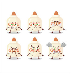 Glue cartoon character with various angry vector