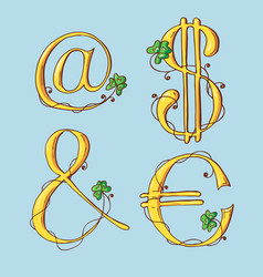gold letters of a st patrick s day alphabet set vector image