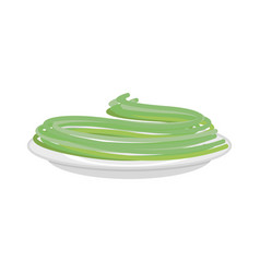 green spinach pasta in plate spaghetti isolated vector image
