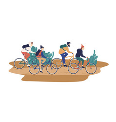 Group smiling young friends riding bicycles vector