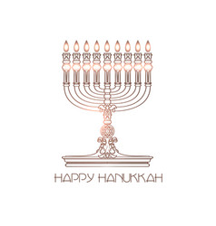Happy hanukkah detailed menorah isolated vector