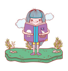 happy little girl reading book in the field vector image