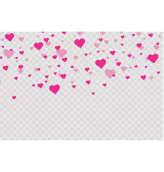 heart confetti falling down isolated valentines vector image