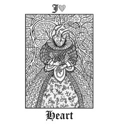 Heart tarot card from lenormand gothic mysteries vector