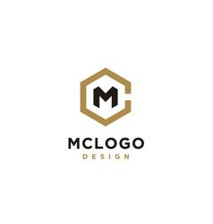 hexagon initials monogram cm mc logo design vector image