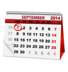 Holiday calendar September 1 vector
