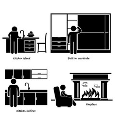 Home house built-in furniture stick figure vector
