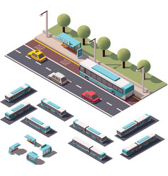 Isometric buses set vector