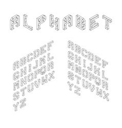Isometric Latin Alphabet Wireframe Letters 3D vector image vector image
