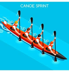 Kayak Sprint Four 2016 Summer Games 3D vector
