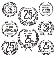 Laurel wreaths anniversary collection 25 years vector