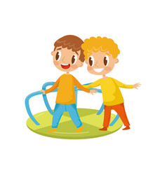 little boys playing with merry go round kids on a vector image