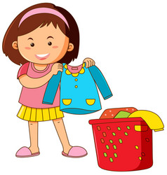 Little girl doing laundry vector
