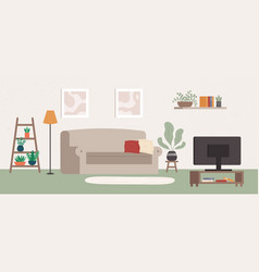 living room interior with different furniture and vector image