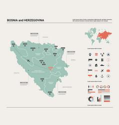 map bosnia and herzegovina high detailed vector image