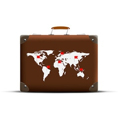 Map of Earth on a brown suitcase vector image