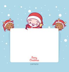 merry christmas cute kawaii character vector image
