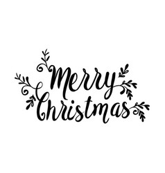 Merry christmas typography black and white image vector
