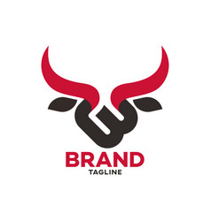 Modern bull and letter b logo vector