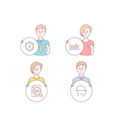 Money diagram check article and shield icons vector