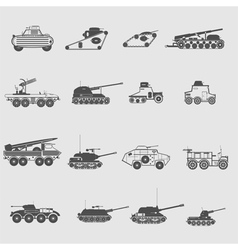 Monochrome icon set with military equipment and ar vector
