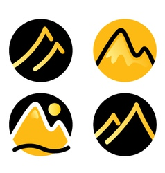 Mountain icons set isolated on white - gold vector image