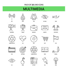 multimedia line icon set - 25 dashed outline style vector image