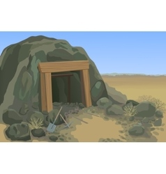 Old mine with shovel and pick vector image
