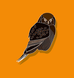 owl paper sticker on stylish background vector image