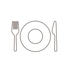 Plate with fork and knife vector