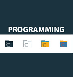 programming icon set four simple symbols in vector image