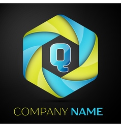 Q Letter colorful logo in the hexagonal on black vector