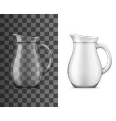 Realistic glass jug for drinks mockup vector