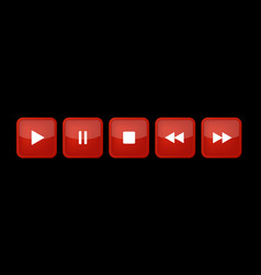 red white square music control buttons set vector image