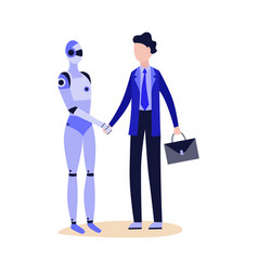 robot android shaking hand to businessman flat vector image