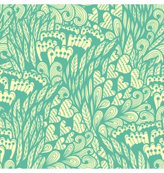 Seamless hand drawn vintage blue doodle pattern vector