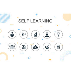Self learning trendy infographic template thin vector