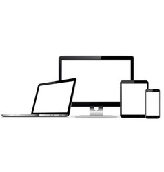 set blank screens with computer monitor laptop vector image